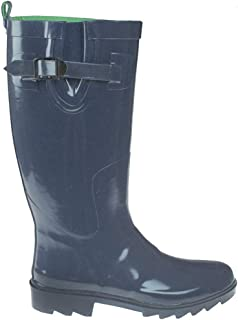 Shiny Solid Rubber Ladies Rain Boot with Buckle & Pull Loop