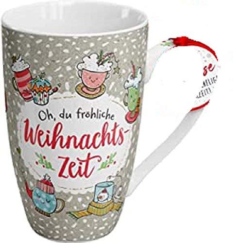 Die Geschenkewelt 49789 große Kaffeetasse Happy Life Weihnachtszeit, 50 cl, Porzellan, Mehrfarbig