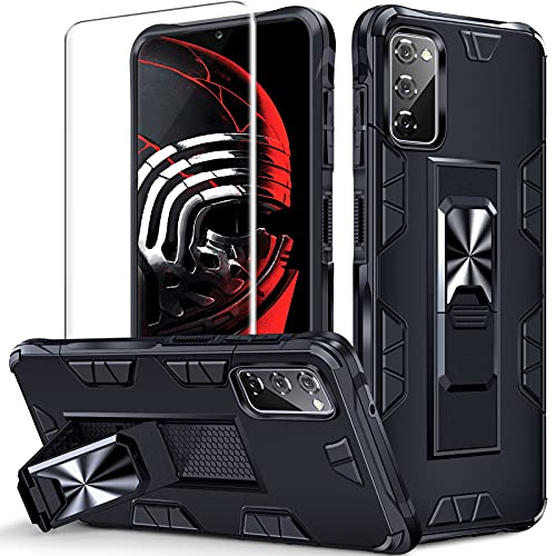 Kompatibel mit Samsung Galaxy S20 FE Hülle mit Panzerglas, mit Schlagfester Technik Samsung S20 FE Handyhülle,Eingebauter Metallständer Schutzhülle (schwarz)