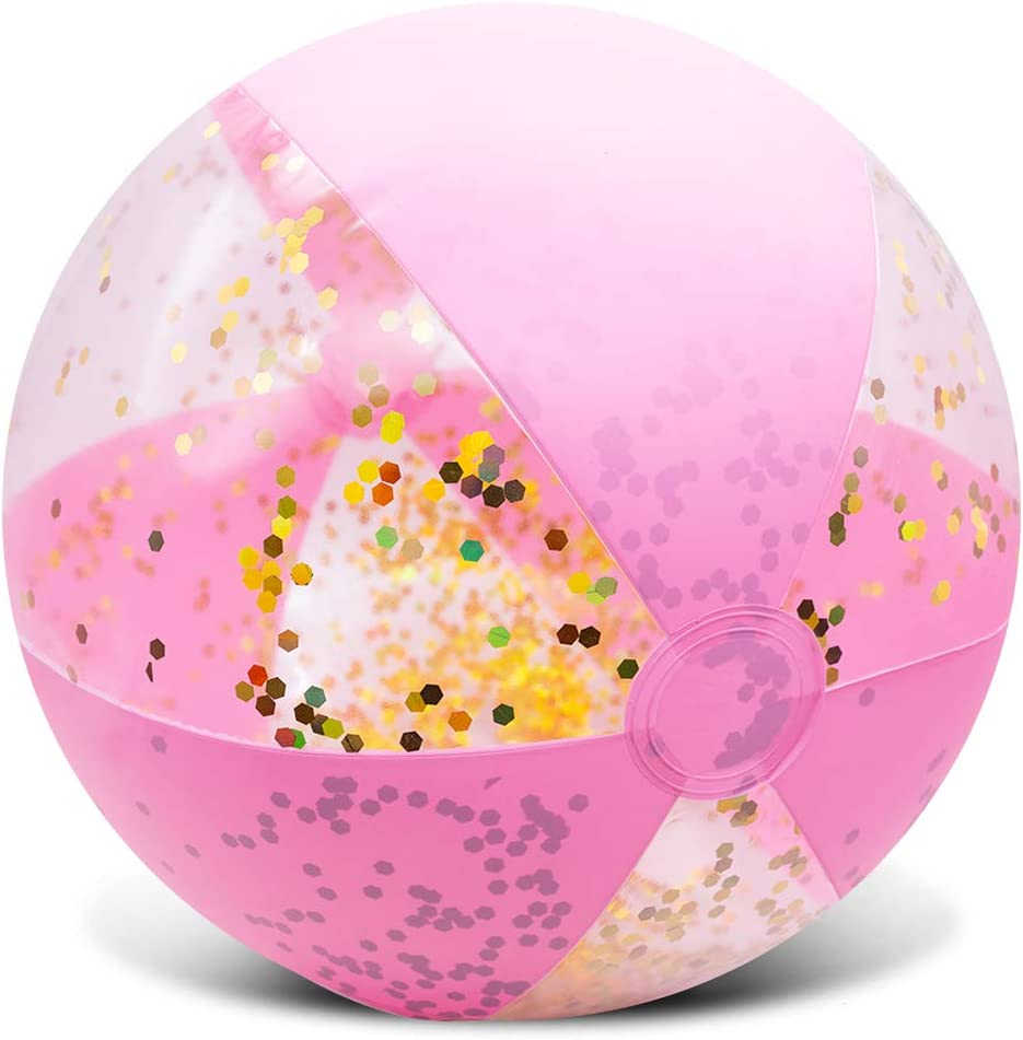 Amor Inflatable Glitter Import Beach Ball Pink 16