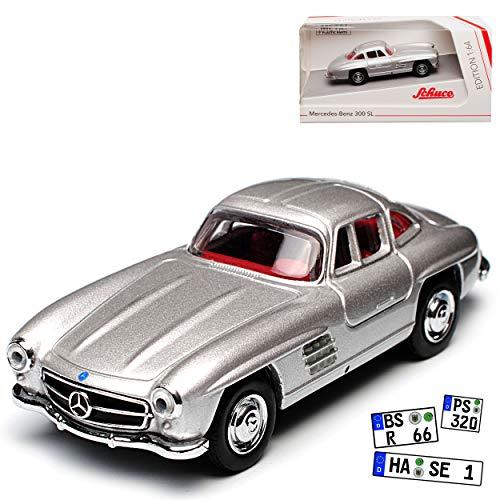 Schuco Mercedes-Benz 300SL Coupe Silber W198 Flügeltürer 1954-1963 1/64 Modell Auto