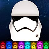 Star Wars Stormtrooper LED Night Light, Color Changing, Collector's Edition, Dusk-to-Dawn Sensor, Plug-in, Disney, Galaxy, Ideal for Bedroom, Bathroom, Nursery, Hallway, 43067