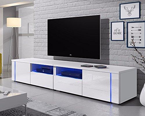 Selsey Meuble TV, Blanc Mat/Blanc Brillant, 200 cm