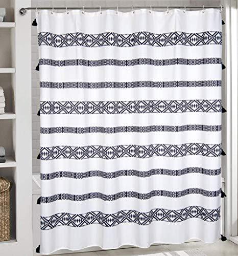 RoomTalks Boho Tassel Plastic Shower Curtain Tribal Chic 72-Inch Waterproof Heavy Weighted Bathroom Shower Curtain Sets White and Cream Striped Geometric Design (72''W x 72''L, Tribal Tassel)