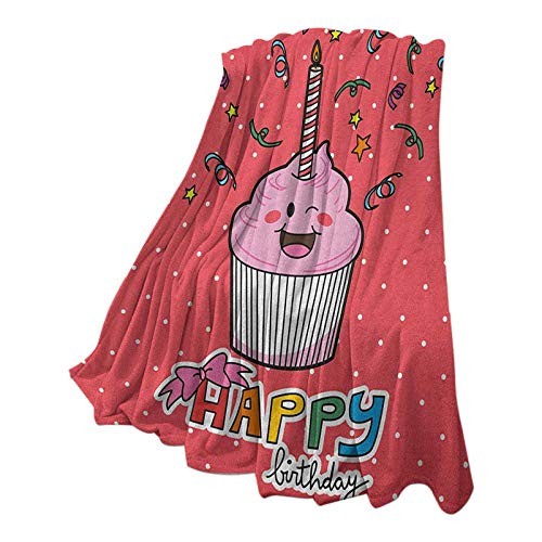 Anmaseven Birthday Quality Blanket for Sofa Chair Bed Pink Strawberry Flavor Cupcake with Candle Cute Face Confetti Bow Tie and Dots Multicolor 50' W x 70' L