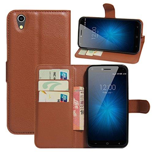 HualuBro UMIDIGI London Hülle, [All Aro& Schutz] Premium PU Leder Leather Wallet Handy Tasche Schutzhülle Hülle Flip Cover mit Karten Slot für UMIDIGI London 5.0 Inch 3G Smartphone (Braun)