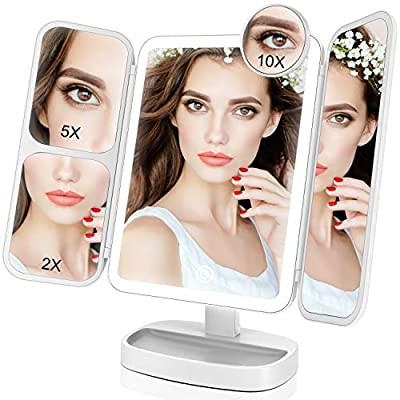 EASEHOLD Makeup Mirror with Lights Vanity Mirror with 38 LED Lighted Mirror 1X/2X/5X/10X Magnification Mirror with Touch Screen 180 Degree Rotation Dual Power Supply Dimming Cosmetic Mirror