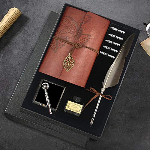 Quill Pen and Ink Set, Antique Feather Dip Calligraphy Pen Set, including Feather Pen, 5 Replacement Nibs, Pen Nib Base, Notebook, Ink, Gift Box, Best Gifts for Men Dad (Grey)