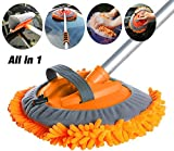 Buyplus Car Wash Brush with Long Handle - All in 1 Car Cleaning Mop, Window Squeegee and Chenille Microfiber Mitt Set, 46in Adjustable Aluminum Long Handle, Vehicle Wash Brush Kit