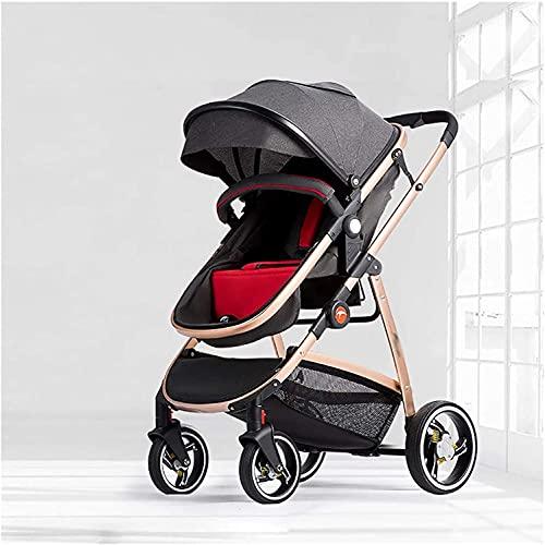 FXBFAG Cochecito de bebé ligero, sistema de viaje de alto paisaje, cochecito compacto, cochecito de bebé plegable 2 en 1 para bebé recién nacido a niño (color: gris) (Color: gris) (Color: gris)