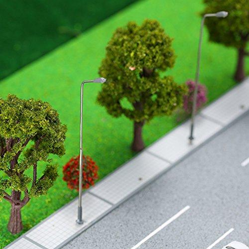 GoolRC 10 Stück Metall Straßenlaterne Modellbau Einzel Kopf LED Leuchten Lampen Pfosten Modelleisenbahn Straßenbeleuchtung 3V DC
