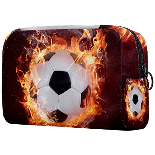 Bolsa de maquillaje personalizable, portátil, para mujer, bolso de mano, organizador de viaje, fútbol, fútbol y fuego