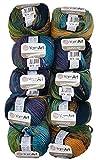 YarnArt Harmony - Ovillo de lana para tejer (10 ovillos de 500 g, 60% lana, A4), multicolor