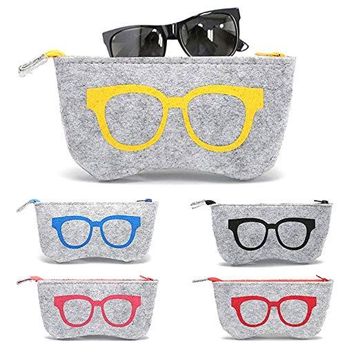 5 Piezas Funda de Fieltro Suave Cremallera Gafas, Bolsa de Gafas Blandas de Fieltro Portátil, Bolsas para Gafas de Sol, para Gafas, Cosméticos, Bolígrafos, Llaves, Artículo Pequeño