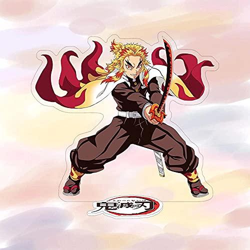 FUYUNDA Demon Slayer/Rengoku Kyoujurou/Postura de sujeción de Espada/Figura de Soporte de Escritorio de Anime/Soporte de Material acrílico/Decoración de Escritorio/Favorito de los fanáticos del an