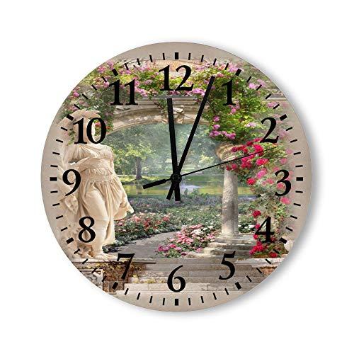 DKISEE Reloj de pared redondo de madera silencioso de cuarzo – Estatua de una mujer en el jardín decorativo para dormitorio, sala de estar, hogar, 30,4 x 30,4 cm