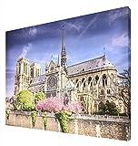 CCRETROILUMINADOS Notre Dame en Primavera Cuadro Retroiluminado, Metacrilato, Multicolor, 60 x 80