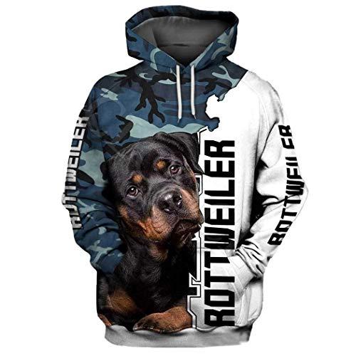 Sudadera con Capucha Animal de la impresión de Camo 3D del Perro de Rottweiler, Abrigo con Capucha Ocasional del Perro del Animal éstico de Las Mujeres de los Hombres Hoodies M