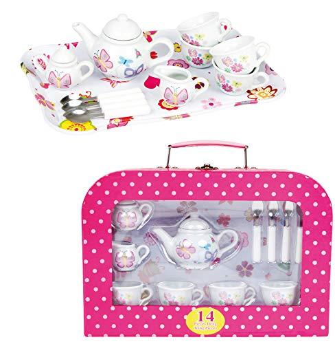 Haberkorn Kinderservice für Spielküche Kaffeeservice aus Porzellan mit Picknickkoffer