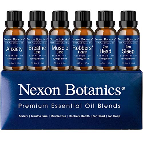 Aromatherapy Essential Oil Blends Set 10 ml x 6 - Perfect Gift for Men and Women - Made In the USA - Anxiety, Breathe Ease, Muscle Ease, Robbers' Health, Zen Head, Sleep
