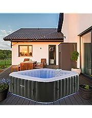 Arebos Whirlpool Tenerife   automatisch opblaasbaar   binnen en buiten   6 personen   LED lichtband   130 massagejets   910 liter   incl. afdekking   Bubble Spa & Wellness Massage