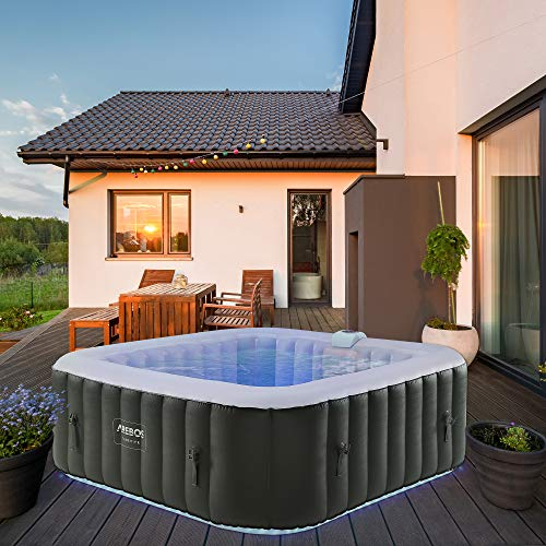 Arebos Whirlpool Tenerife | automatisch aufblasbar | In- & Outdoor | 6 Personen | LED Leuchtband | 130 Massagedüsen | 910 Liter | Inkl. Abdeckung | Bubble Spa & Wellness Massage