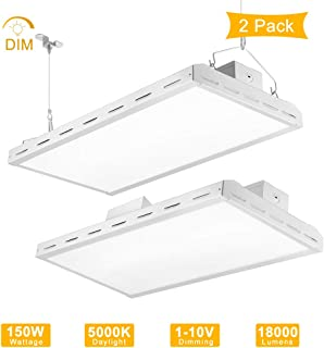 LIGHTDOT LED Linear High Bay Light 2FT, 150W (500W Eqv), 18000LM, 5000K Daylight, 1-10V Dimmable, Suspend Mounting. High Bay LED Shop Lights for Warehouse, Garage, Workbench, Supermarket (2 Pack)