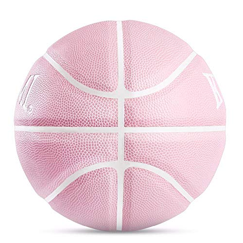 Great Deal! SSLLPPAA Pink Basketball No. 7 Outdoor Indoor Basketball Court, Designed for Girls, Spor...