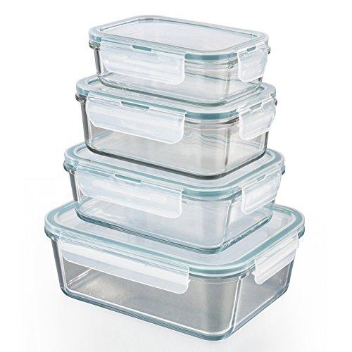 GOURMETmaxx Glas-Frischhaltedosen klick-it 8 TLG. | Spülmaschinen- Mikrowellen- und Gefrierschrankgeeignet | Deckel BPA-frei mit Silikon Dichtungsring und 4-Fach-klick-Verschluss [smaragdgreen]