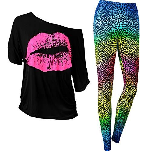 Syhood Conjunto de Disfraces de Mujer de los 80, Camiseta con Estampado de Labios y Pantalones Legging de los 80, Hombro Informal de Gran Tamaño (Estampado de Leopardo, XXL)