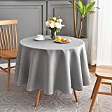 Maxmill Jacquard Round Table Cloth Swirl Pattern Waterproof Antiwrinkle Heavy Weight Soft Tablecloths for Circular Table Cover and Kitchen Dinning Tabletop Decoration Round 70 Inch Light Gray