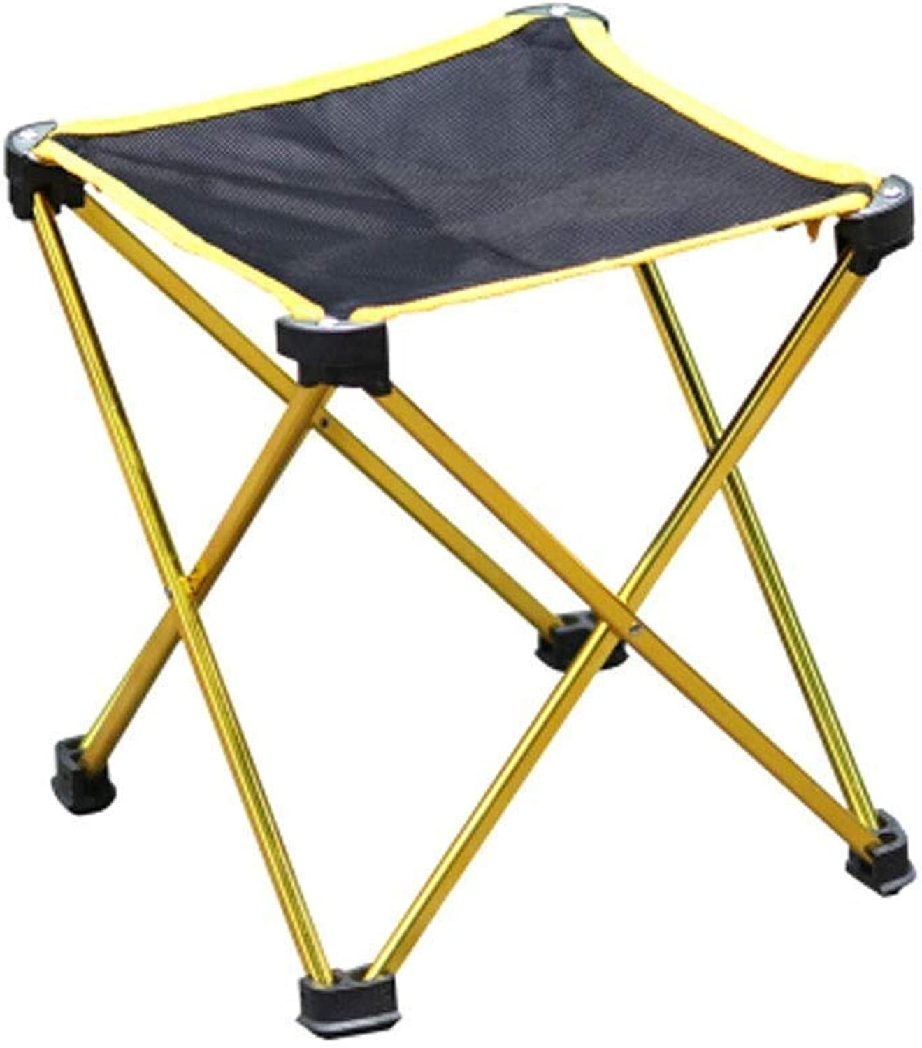 Outdoor Portable Folding Chair Camping Bench Aluminium Multi-Function Lightweight Casual Picnic Travel Fishing Mountaineering Barbecue Park Adventure Beach 4 colors Optional (color   gold)