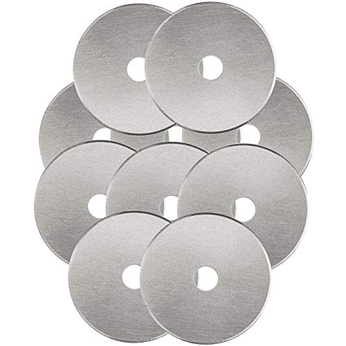 Rotary Cutter Blades 45mm 10 Pack by KISSWILL, Fits Fiskars, Olfa, Martelli, Dremel, Truecut, DAFA Rotary Cutter Replacement for Quilting Scrapbooking Sewing Arts &Crafts, Sharp and Durable