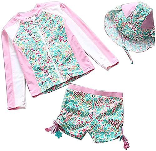mayababy 水着 女の子 セパレート ?袖 ラッシュガード キャップ付き 3点セット 子供水着 かわいい 日焼け止め 女児水着 UVカット 水遊び ビーチ プール 90-140cm (ピンク, 90)