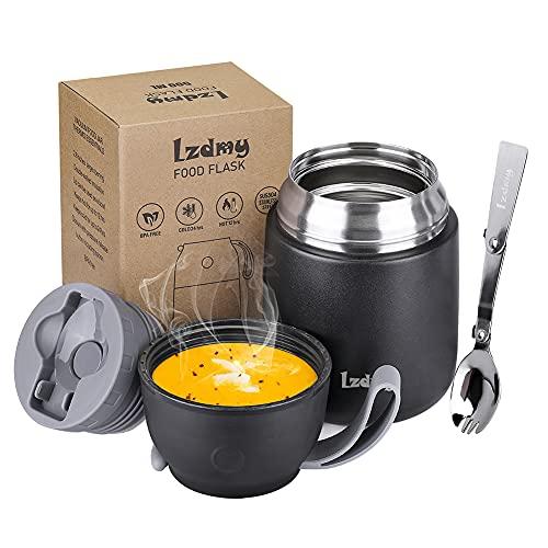 LZDMY Boîtes Alimentaires Isotherme 500ml pour Aliments Chauds avec Cuillère Pliable Thermo Isolant Contenant Inoxydable, Récipient Thermique pour Aliment Gamelle 500 ml/700 ML (Noir)
