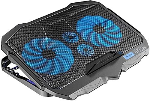 TEPET Almohadillas de enfriamiento del Enfriador de computadora portátil para Juegos, 4 Ventiladores silenciosos y Pantalla LCD, Ajuste de Altura, 2 Puertos USB y luz LED Azul