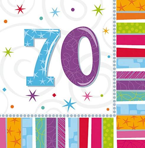 Amscan Geburtstags-Servietten 70 Jahre, 16 Stück