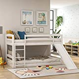 Solid Wood Twin Bunk Beds for Kids Toddlers Twin Over Twin Bunk Bed Frame with Slide and Built-in Ladders