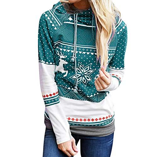 Casaul Kapuzenoberteile,Evansamp Weihnachtsdame Elk Snowflake Print Tops Kordelzug Kapuzenpulli Pullover Bluse(Sky Blue,L)