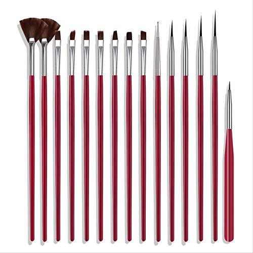 Exc nagelaccessoires, 3 sets, 15 sets met bonte veren, nagelborstel, lichtstrip wit/zwart/poeder/rood Estilo 3 Netto