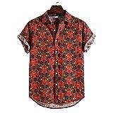 JJZSL Hombre De Algodón Lino Étnico Manga Corta Casual Impresión Suelta T Hawaiian Shirt Blusa Beachwear Hip Hop Buttons Camisas Ropa De Los Hombres (Color : Red, Size : M code)