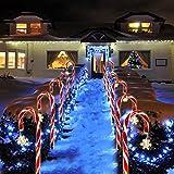 Luces Solares Al Aire Libre de La Navidad Del Bastón Del Caramelo de La Navidad, Navidad Del Bastón de Caramelo Pathway Luces Solares de Navidad La Luz Del Jardín Estaca Luces Festivas Solares Luces