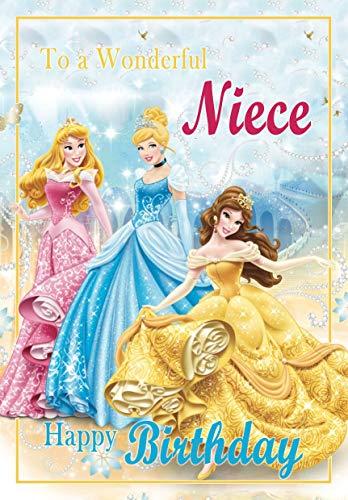 Tarjeta de cumpleaños para sobrina – Princesa Disney – a todo color en el interior – ¡Publicado el mismo día!