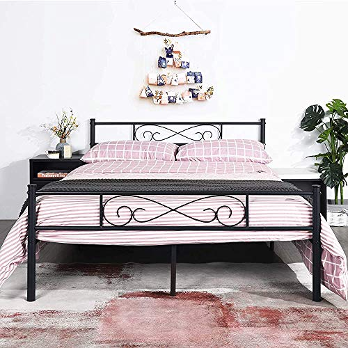 Bases Suitable for Adults Metal 4 feet 6 with Large Metal Storage Life Bedstead with Patterned Clouds More Stable, Stronger,140 * 190cm