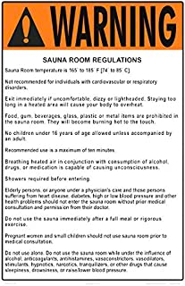 Warning Sauna/Steam Room Regulations Sign (Measuring 12 x 18 Inches on White Styrene Plastic) (Sauna Room)