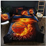 Homebed 3D Sports Fire Basketball Bedding Set for Teen Boys,Duvet Cover Sets with Pillowcases,Twin Size,2PCS,1 Duvet Cover+1 Pillow sham