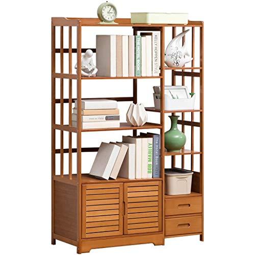 Stevige Houten Boekenkast, Multi-layer Modern Bookshelf Half open Simple File Storage Kasten met deuren en laden voor het thuiskantoor,5 layers