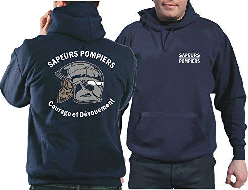 feuer1 Sweat à capuche (Navy/Bleu Marine) Sapeurs Pompiers Casque - Courage et Dévouement - Marque Blanc L