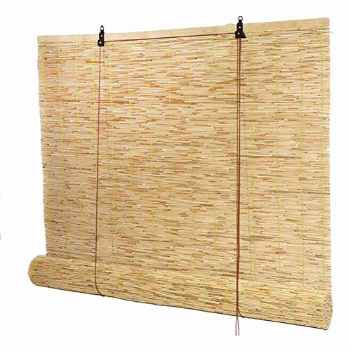 Persianas enrollables y estores Reed Curtain Straw Cortina Cortar Sombra Retro Decoración Levantamiento,Width100*Height200cm