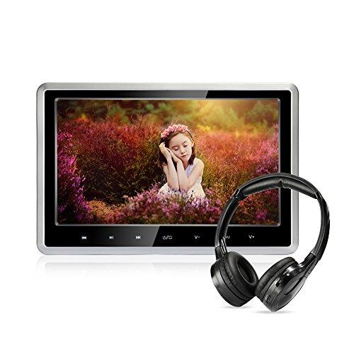 Lecteur DVD de voiture avec écouteurs sans fil, 10,1 pouces HD Appui-tête Lecteur de DVD Véhicule Siège arrière Système de divertissement pour les enfants avec...